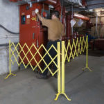 Illinois Engineered Products, IEP, Portable Security Folding Gate, Portable, Aisle Security Gate, Folding Security Gates, Safe, Secure, Gate, Folding Gate, Security, Safety, Loss Prevention, Aisle, Section, Access, Access Control, Hallway, Entryway, warehouse, industrial, retail, barrier, rolling, on wheels, OSHA, yellow, steel, aluminum, temporary, temporary access, temporary limit, casters, wheels